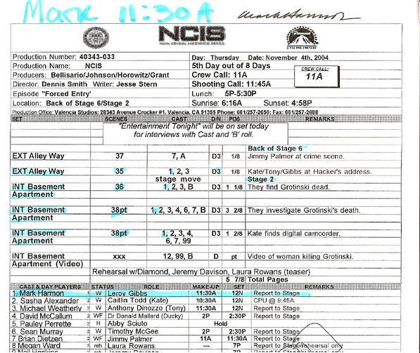 Doodle 4 Nf - Gallery - Mark Harmon #2 - Autographed Ncis Call Sheet